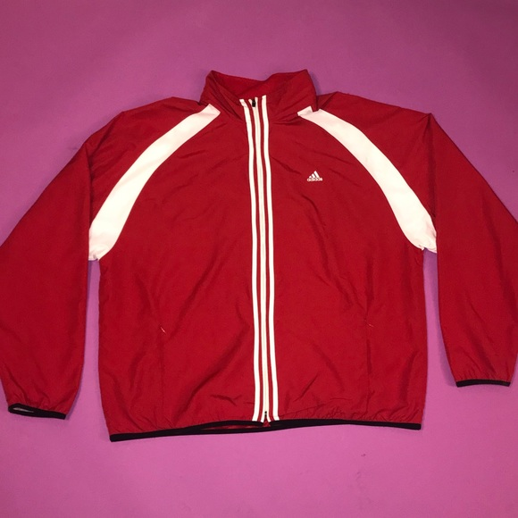 Adidas Red climaproof Windbreaker Track Jacket